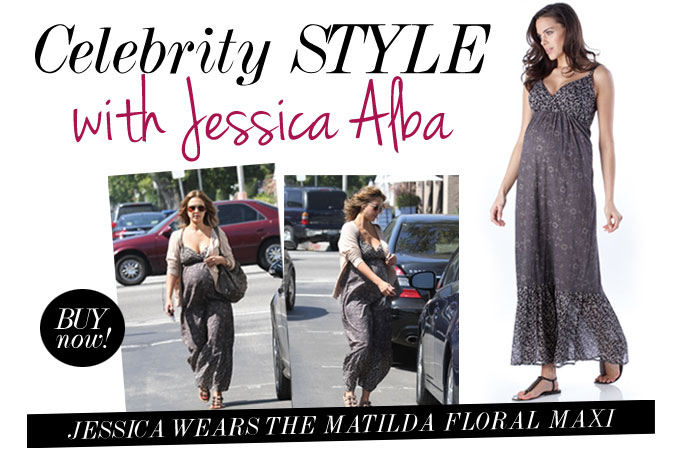 jessica alba wear the matilda floral maxi dress
