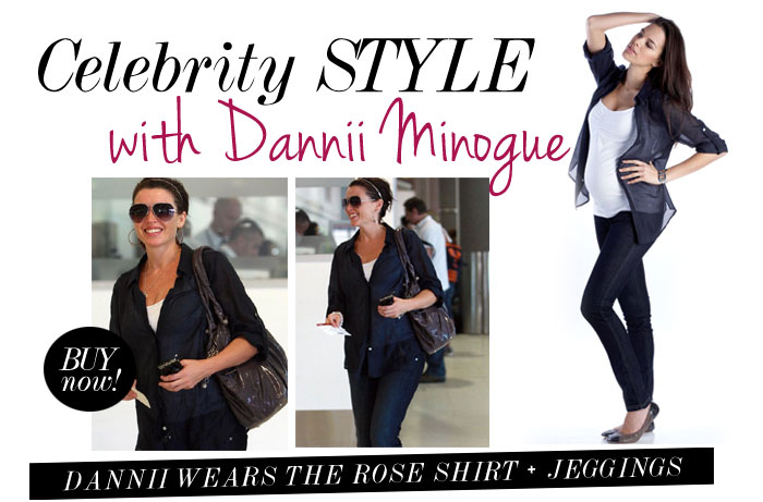 dannii minogue wears the rose shirt and denim jeggings